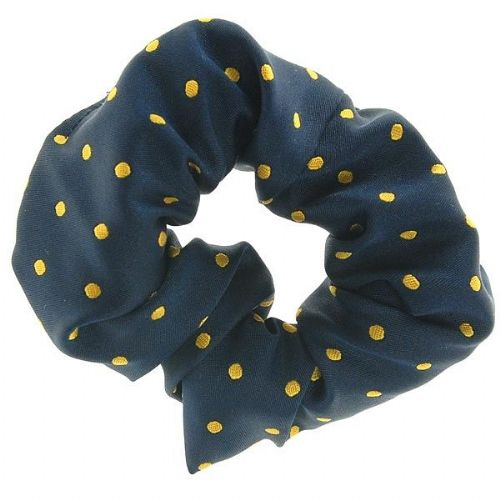 ShowQuest Medium Spot Hair Scrunchie in Navy/Sunshine